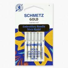 Иглы Schmetz для вышивания Gold титан № 90 5 шт. 130/705H-ET